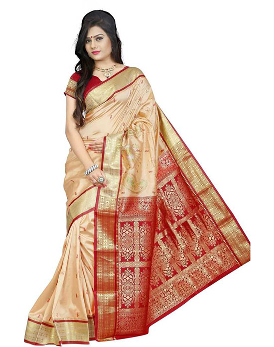 Fashion Poly Silk Beige Colour Saree