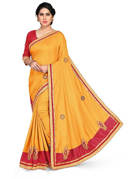 Fashion Silk Blend Mustard Saree