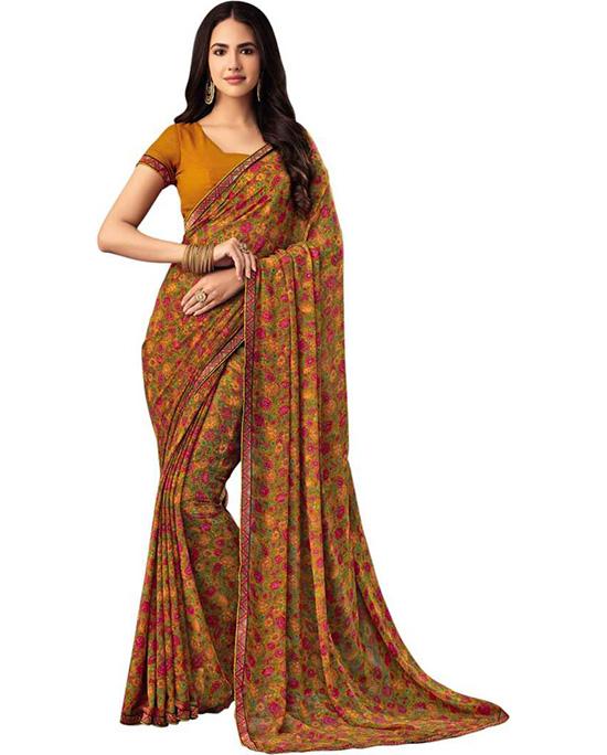 Floral Print Bollywood Chiffon Mustard Saree