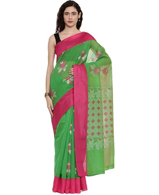 Floral Print Coimbatore Cotton Blend Saree Green