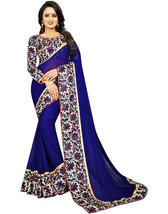 Floral Print Fashion Georgette, Chiffon Blue Saree