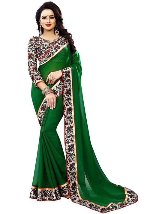 Floral Print Fashion Georgette, Chiffon Green Saree