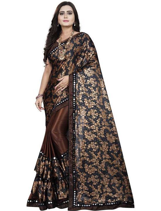 Floral Print Fashion Lycra Blend Brown Saree