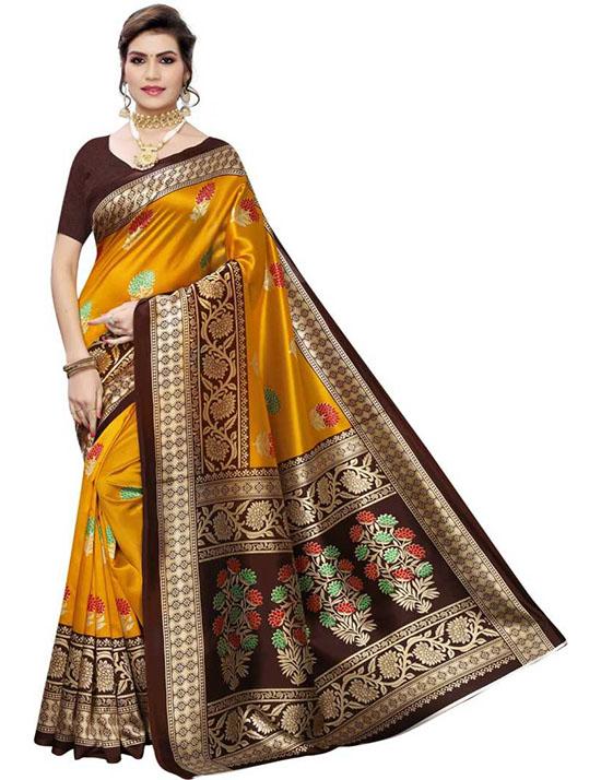 Floral Print Kanjivaram Cotton Silk Mustard Saree