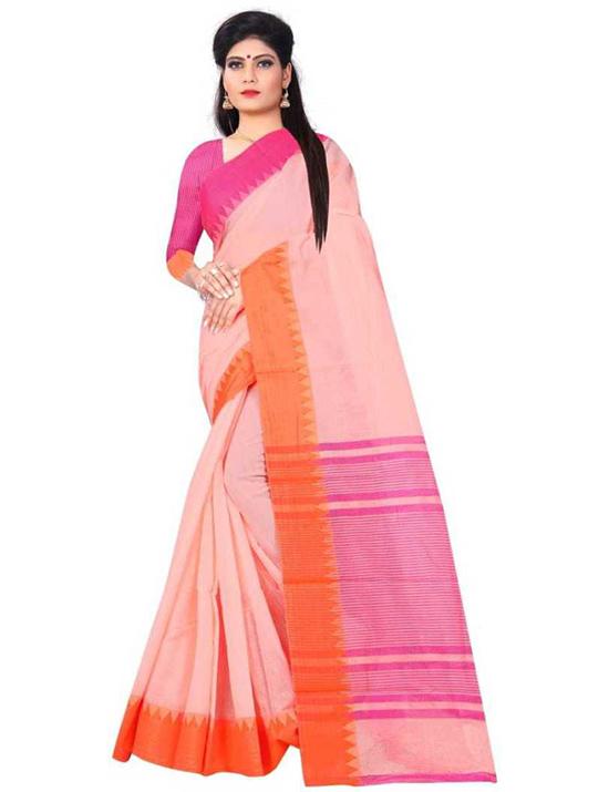 Ganga Jamuna Cotton Blend Saree Pink