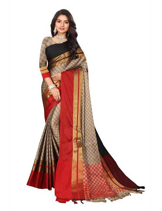 Ganga Jamuna Cotton Silk Saree (Beige