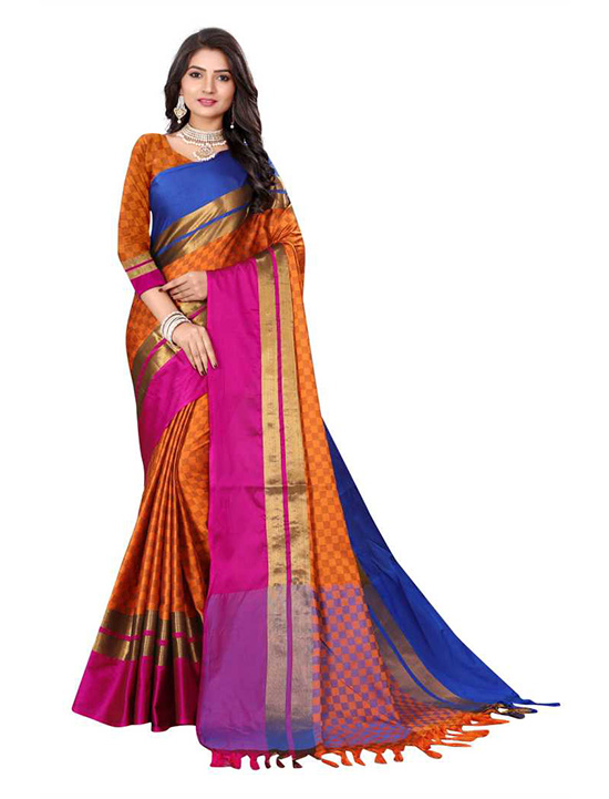 Ganga Jamuna Cotton Silk Saree Orange