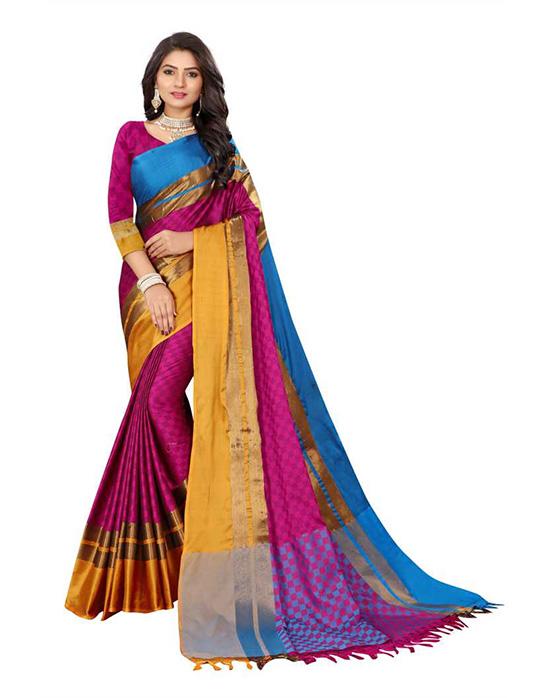 Ganga Jamuna Cotton Silk Saree (Pink