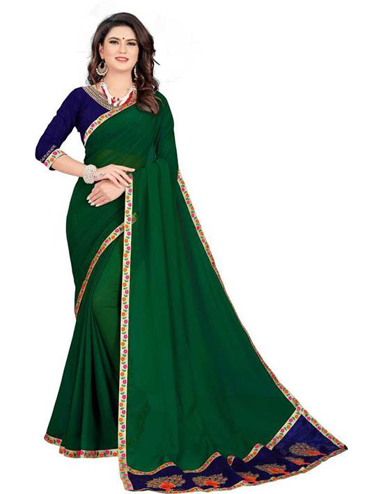 Ganga Jamuna Georgette Saree Green