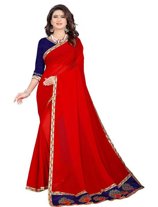 Ganga Jamuna Georgette Saree Red