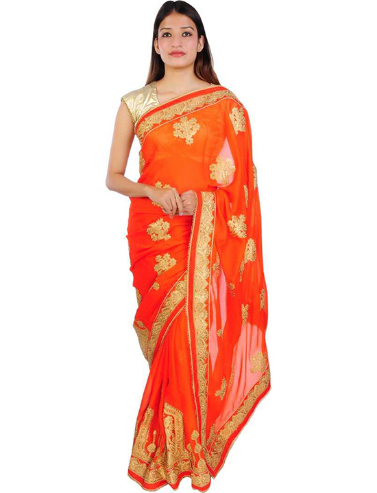 Ganga Jamuna Georgette, Silk Blend Saree (Orange