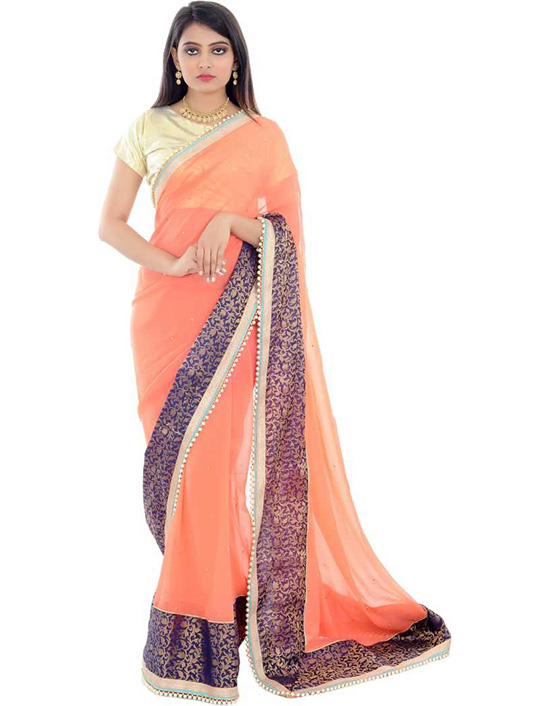 Ganga Jamuna Georgette, Silk Blend Saree Orange