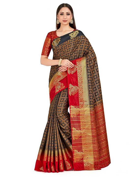 Ganga Jamuna Tussar Silk Saree Gold