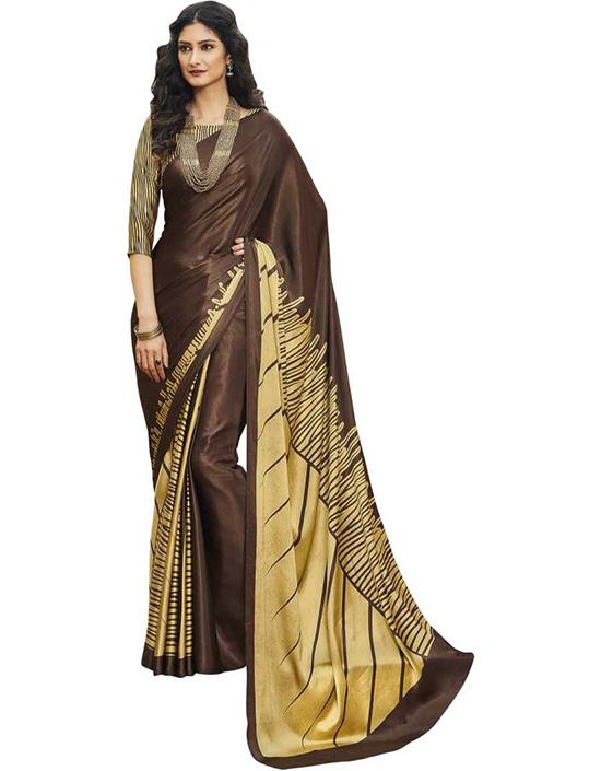 Geometric Print Fashion Satin Blend Brown Saree