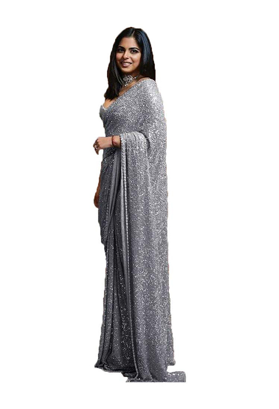 Georgette Sequence Silver Saree