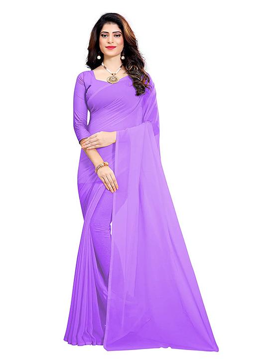 Georgette kurta Lavender Saree (Free Size)
