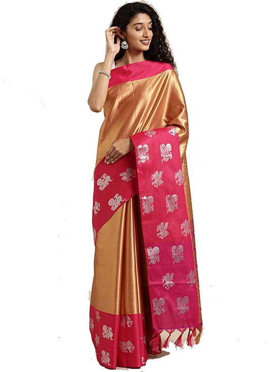 Gold Colour Kora Muslin Silk Saree
