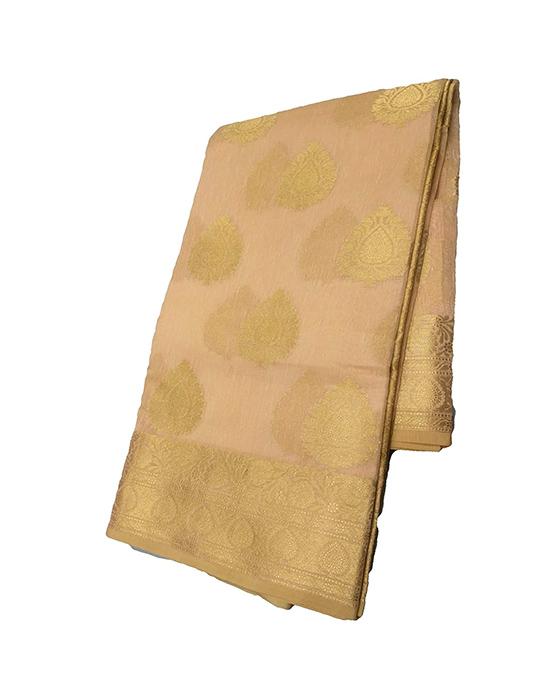 Golden Kora Muslin Saree for Women