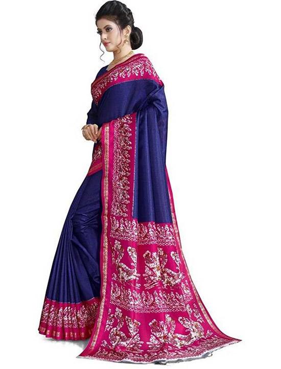 Hand Batik Art Silk Saree Dark Blue