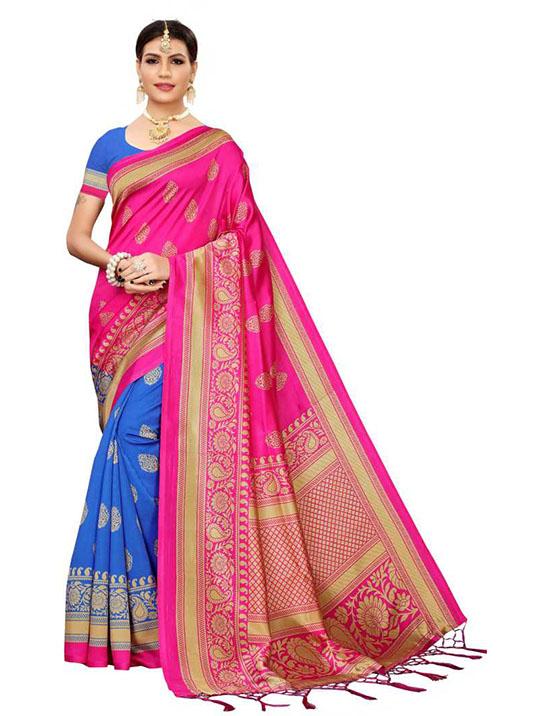 Hand Batik Cotton Blend Saree Multicolor)