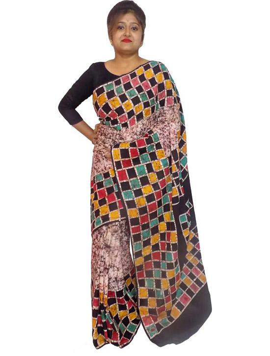 Hand Batik Cotton Blend Saree (Multicolor)