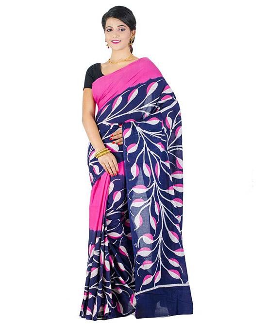 Hand Batik Handloom Cotton Blend Saree Dark Blue, Pink