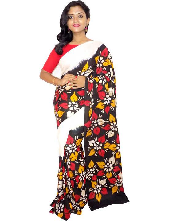Hand Batik Handloom Cotton Blend Saree White, Black