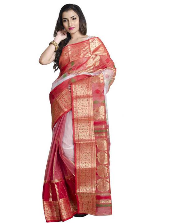 Hand Batik Handloom Poly Silk SareeMulticolor