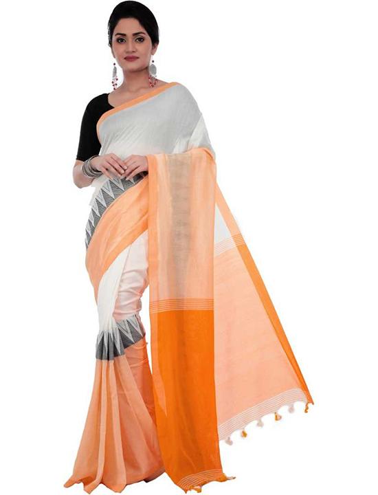 Hand Batik Handloom Pure Cotton Saree White, Orange