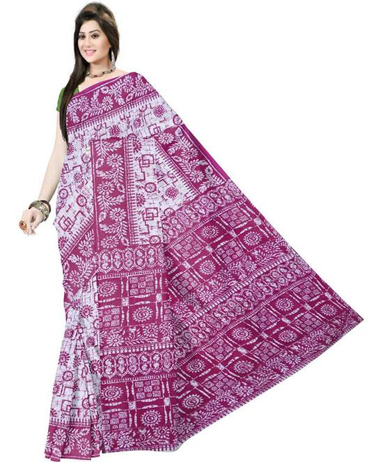 Hand Batik Pure Cotton Saree Magenta