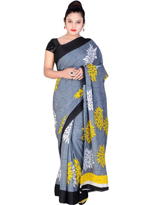 Hand Batik Pure Cotton Saree Multicolor