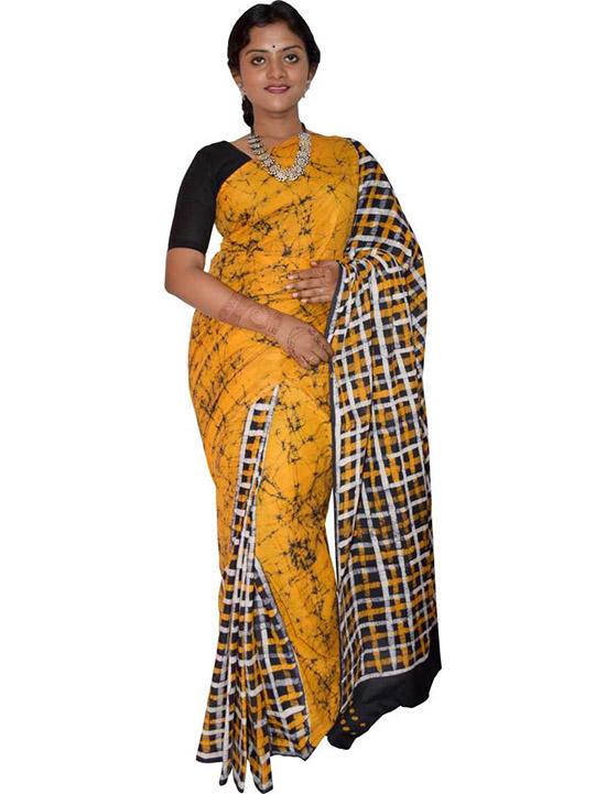 Hand Batik Pure Cotton Saree (White, Yellow