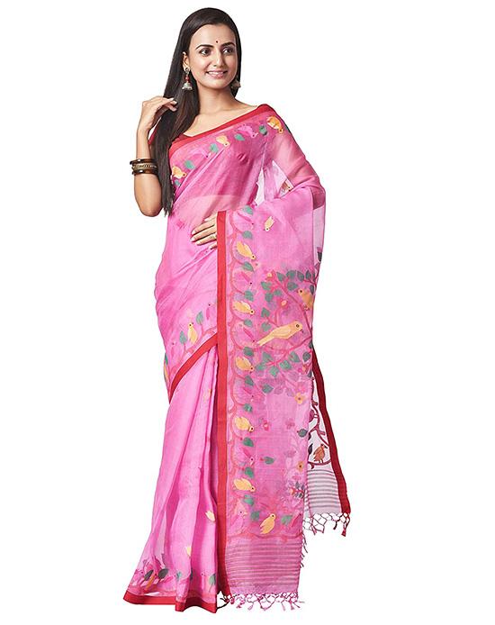 Handloom Kora Silk Jamdani Pink Saree
