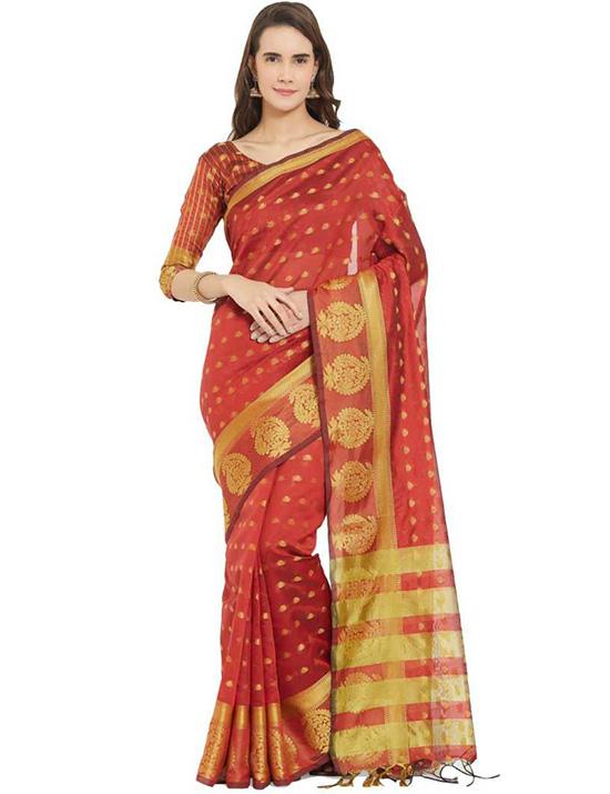 Jamdani Art Silk Red Saree