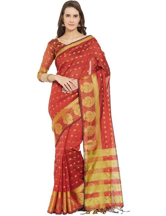 Jamdani Art Silk Saree Red