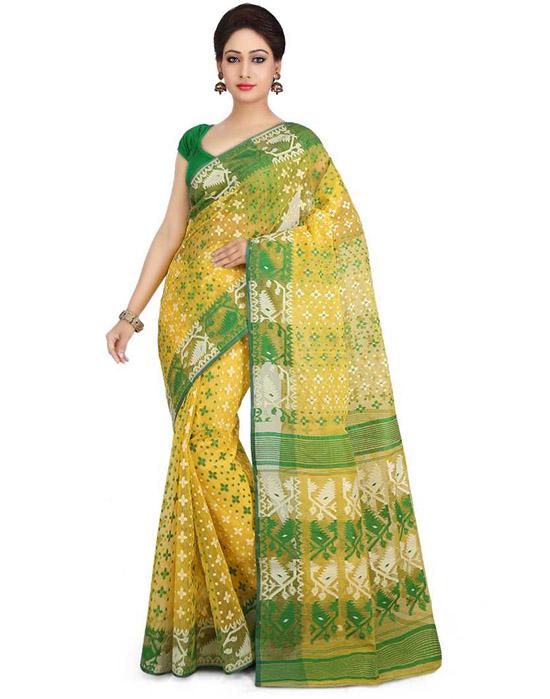 Jamdani Art Silk Yellow Saree