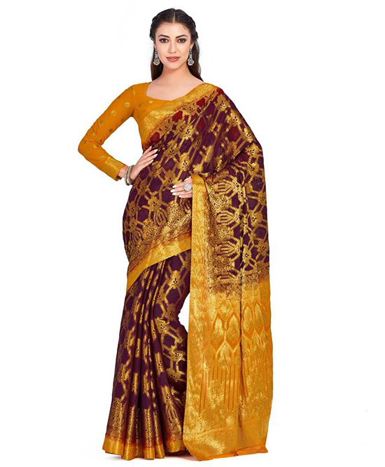 Jamdani Chiffon Saree Maroon, Yellow