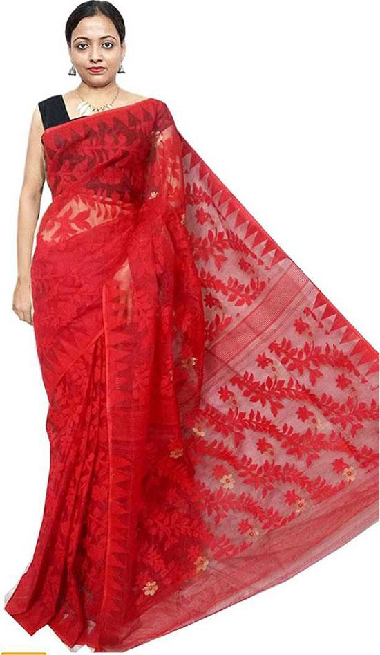 Jamdani Cotton Blend, Cotton Silk Red Saree