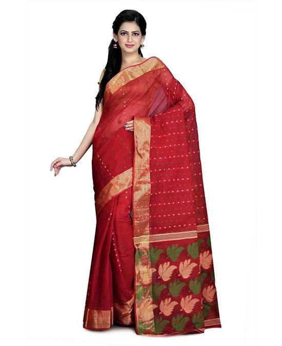 Jamdani Cotton Blend, Pure Cotton Red Saree