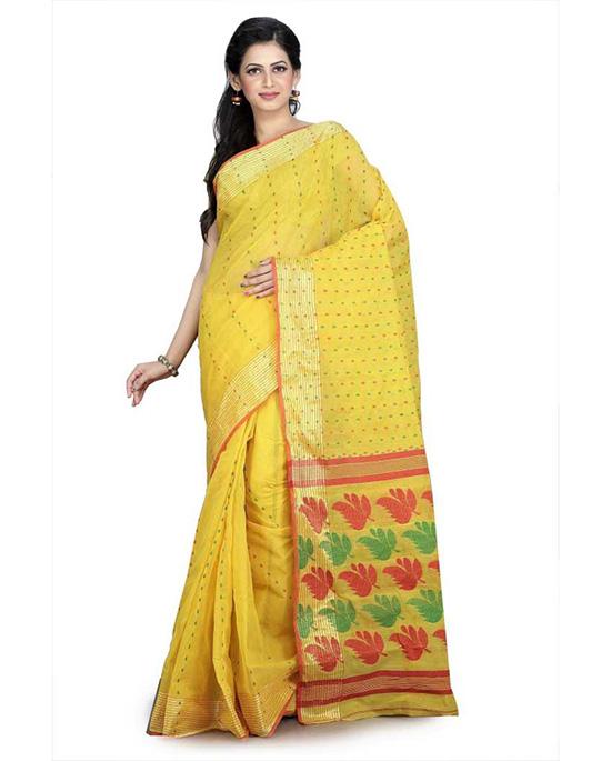 Jamdani Cotton Blend, Pure Cotton Yellow Saree