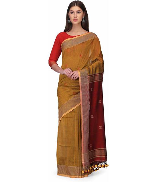 Jamdani Cotton Blend Saree Brown