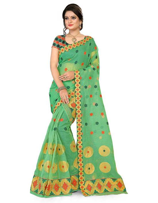 Jamdani Cotton Blend Saree Green