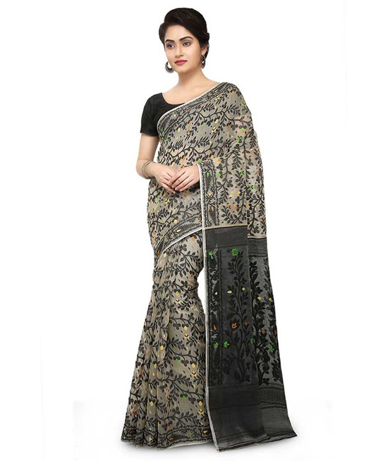 Jamdani Cotton Blend Saree Multicolor, White, Black