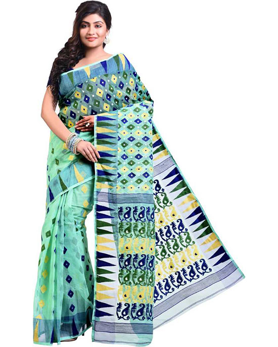 Jamdani Cotton Blend SareeMulticolor