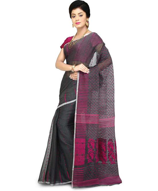 Jamdani Cotton Blend Saree Pink, Grey
