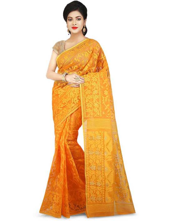 Jamdani Cotton Blend Yellow Saree