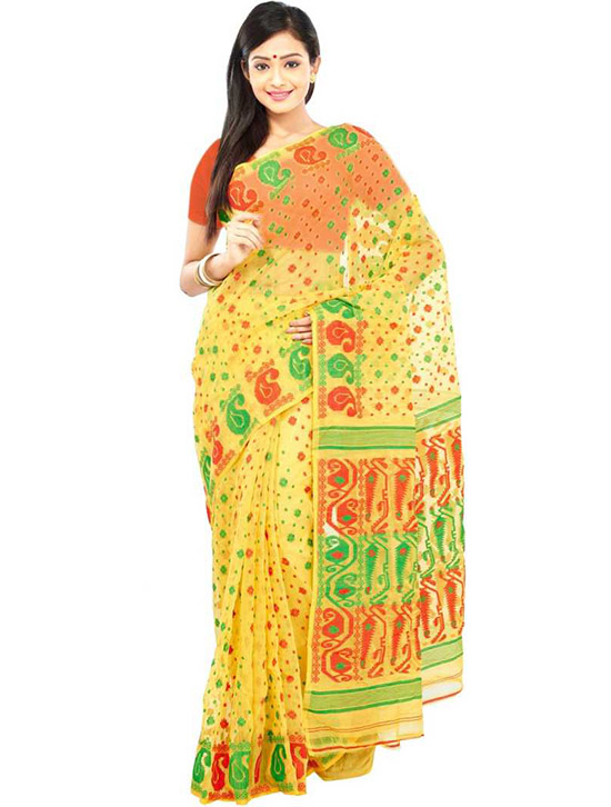 Jamdani Cotton Handloom Linen Blend Yellow Saree