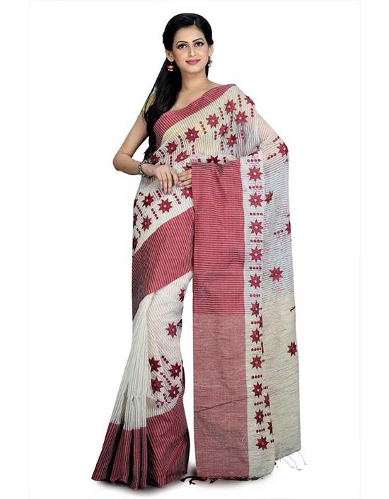 Jamdani Cotton Jute Blend, Cotton Linen Blend Saree Maroon, Beige