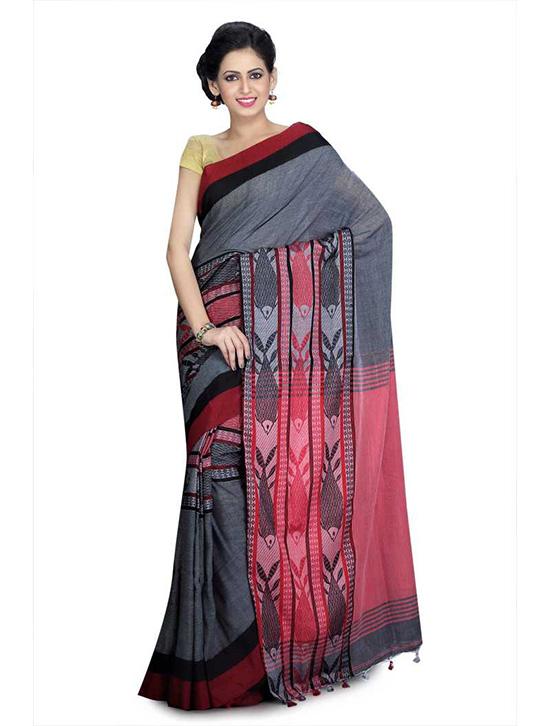 Jamdani Cotton Linen Blend, Cotton Blend Saree Red, Grey