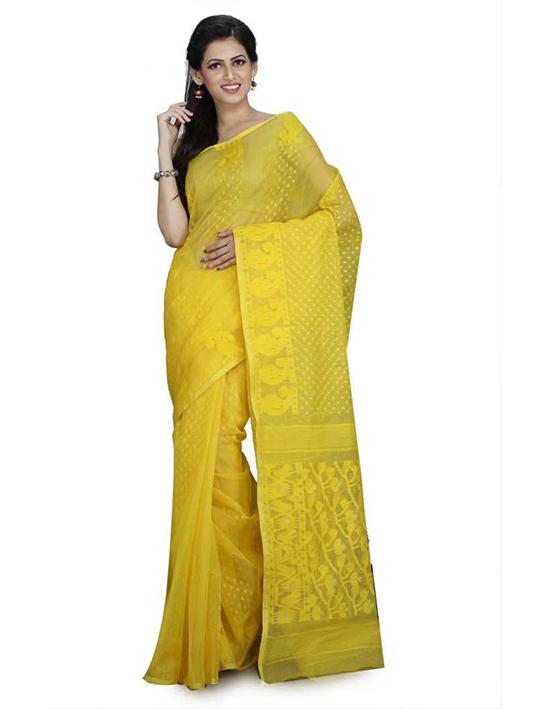 Jamdani Cotton Linen Blend, Cotton Blend Yellow Saree